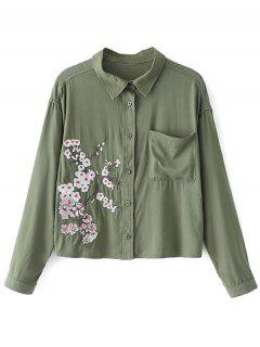Button Down Floral Embroidered Shirt With Pocket - Army Green S