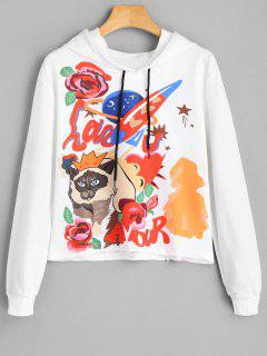 Cartoon Cat Graphic Drawstring Hoodie - White
