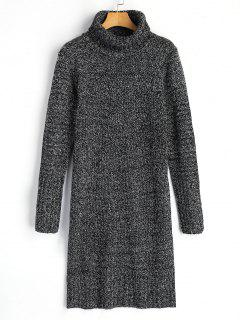Long Sleeve Turtleneck Heathered Sweater Dress - Deep Gray