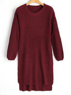 Longline High Low Slit Sweater - Wine Red