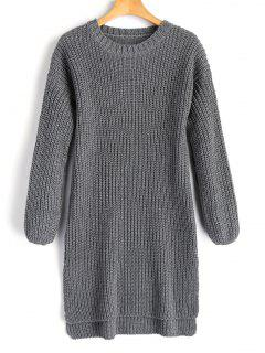 Longline High Low Slit Sweater - Gray