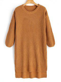Longline High Low Slit Sweater - Flax Brown