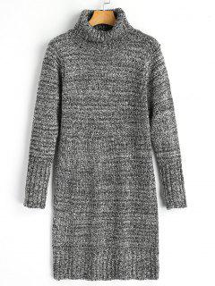 Long Sleeve Turtleneck Heathered Sweater Dress - Light Gray