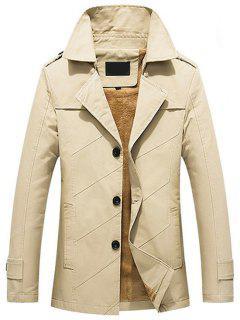 Button Up Fleece Mens Coat - Light Khaki L