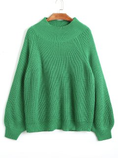 Lantern Sleeve Pullover Mock Neck Sweater - Green