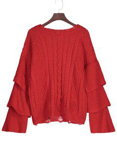 Layered Sleeve Cable Knit Ripped Sweater - Red