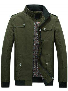 Utility Pocket Zip Up Jacket - Army Green 2xl