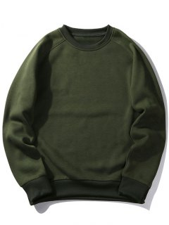 Fleece Crew Neck Sweatshirt - Army Green L