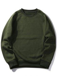Sudadera Con Cuello Redondo De Lana - Verde Del Ejército S
