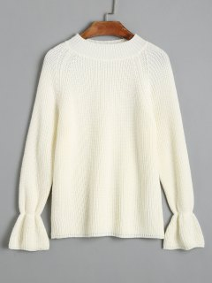 Pullover Mit Raglanärmeln Mock Neck Sweater - Weiß S