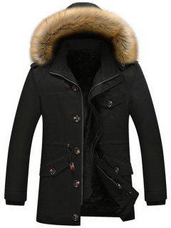 Fleece Drawstring Parka Coat - Black 2xl