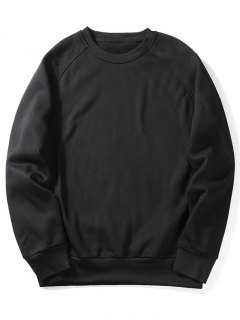 Fleece Crew Neck Sweatshirt - Black M