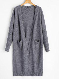 Front Open Long Cardigan - Gray