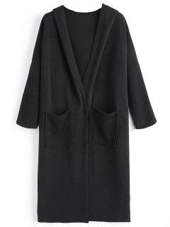Pocket Hooded Drop Shoulder Cardigan - Black
