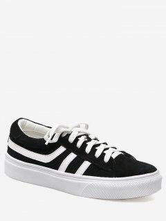 Color Block Striped Skate Shoes - Black 38