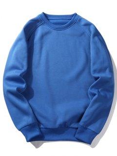 Fleece Crew Neck Sweatshirt - Blue S