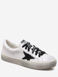 Letter Stars Stitching Skate Shoes - White 38