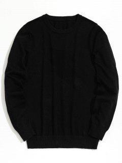 Plain Crew Neck Knitwear - Black Xl