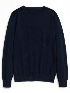 Plain Crew Neck Knitwear - Purplish Blue Xl
