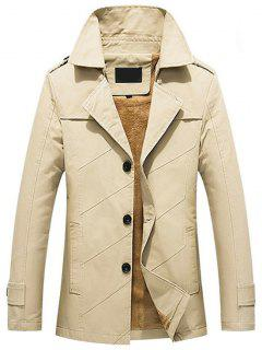Button Up Fleece Herren Mantel - Helles Khaki 5xl
