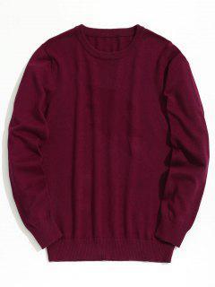 Plain Crew Neck Knitwear - Burgundy Xl