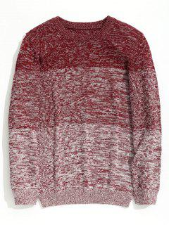 Heathered Color Block Chunky Sweater - Red 3xl