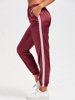 Drawstring Shiny Sporty Jogger Pants - Red S