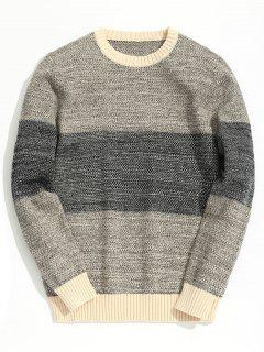 Heathered Color Block Chunky Sweater - Apricot Xl