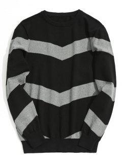 Stripe Pullover Sweater - Black Xl