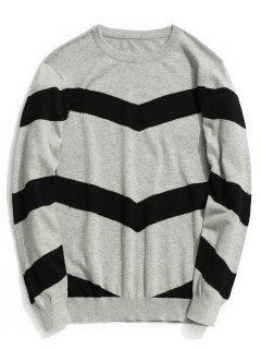 Stripe Pullover Sweater - Gray Xl