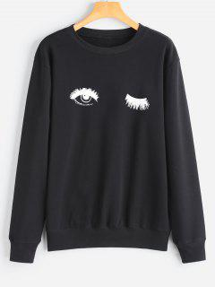 Tunic Eye Print Sweatshirt - Black M