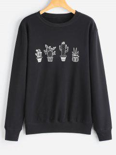 Graphic Cactus Print Sweatshirt - Black Xl