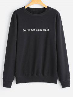Letter Pullover Sweatshirt - Black L