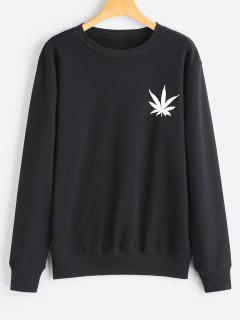 Leaf Print Sweatshirt - Black L
