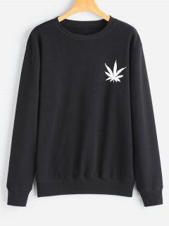 Sweat-shirt à Feuille Imprimée - Noir L