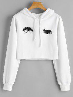 Eye Print Cropped Hoodie - White S