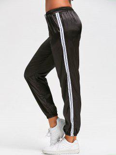 Drawstring Shiny Sporty Jogger Pants - Black M