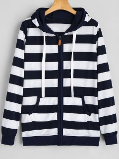 Drawstring Zip Up Stripe Hoodie - Purplish Blue Xl