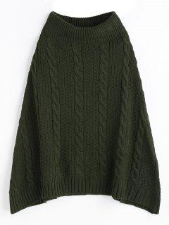 Plain A Line Cable Knit Skirt - Army Green