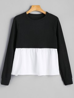Panel Crew Neck Sweater - Black Xl