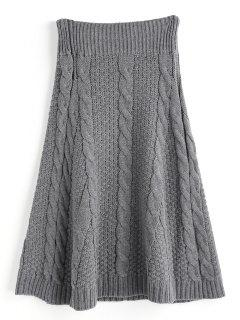 Plain A Line Cable Knit Skirt - Deep Gray