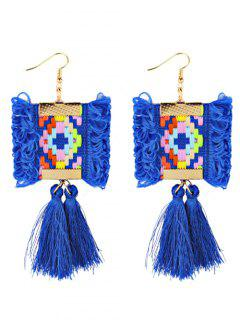 Ethnic Style Handmade Long Fringed Earrings - Blue