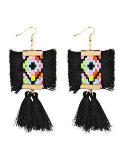 Ethnic Style Handmade Long Fringed Earrings - Black