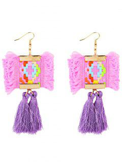 Ethnic Style Handmade Long Fringed Earrings - Pink