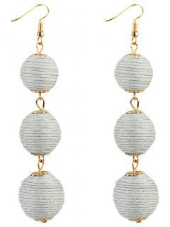 Pair Of Bon Bon Style Dangle Earrings - White