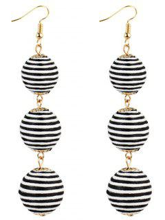 Pair Of Bon Bon Style Dangle Earrings - Black White