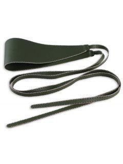 Vintage Rivet Brim Knot Strap Embellished High Waist Belt - Green