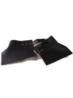 Metal Buckle Embellished Long Wrap Faux Leather Belt - Black
