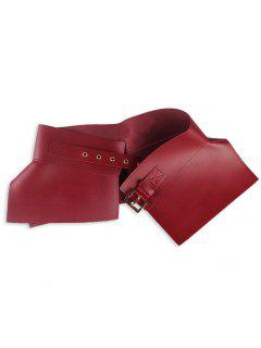Metal Buckle Embellished Long Wrap Faux Leather Belt - Purplish Red C5
