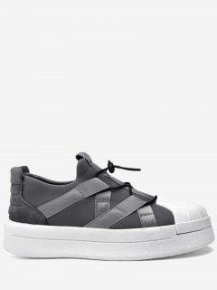 Tie-up Shell Toe Athletic Skate Shoes - Gray 42